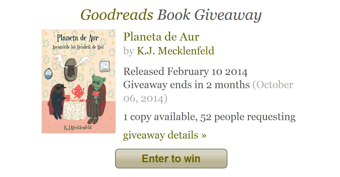 Goodreads giveaway august 2014
